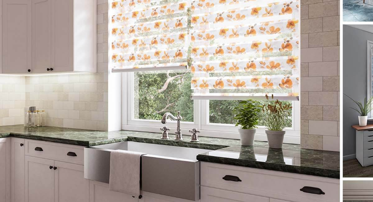 A selection of mirage blinds in various rooms in a house