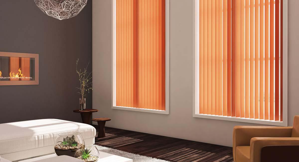 large vibrant orange vertical pattern blinds in modern living room