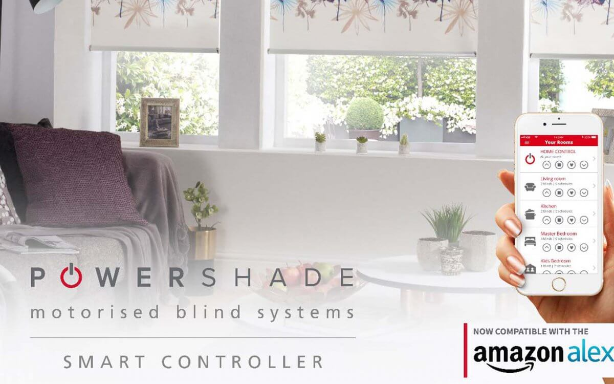 Power shade motorised blinds control system with smart controller and amazon alexa